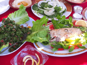 A typical Lebanese meal (naturally anti-inflammatory) - Tabbouleh, Fish with tarator sauce, eggplant dip, humus dip